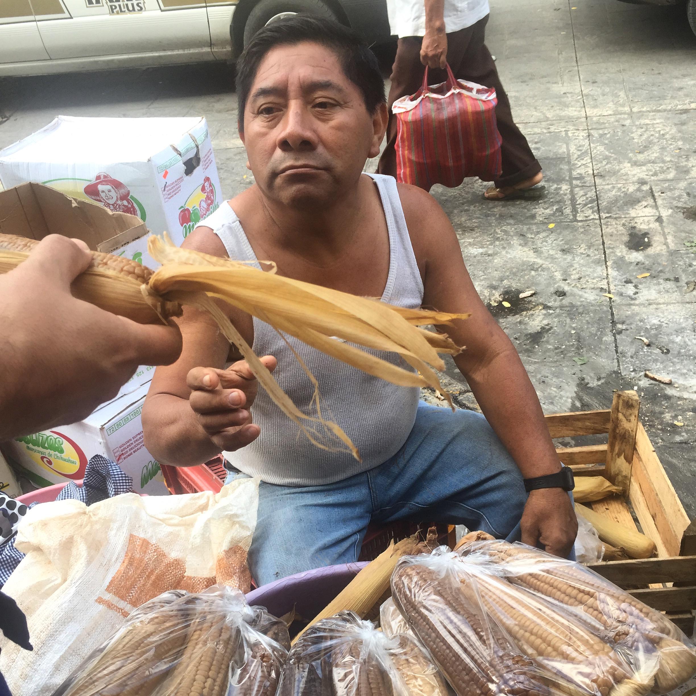 Elotes asados. Mercado central Medellín